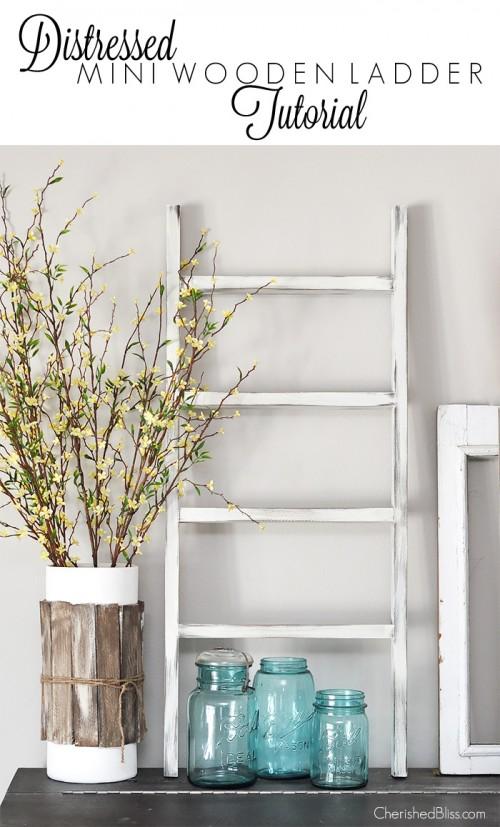 mini ladder shelf (via cherishedbliss)