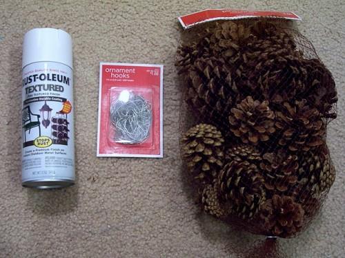 Snowy Pine Cone Christmas Ornaments