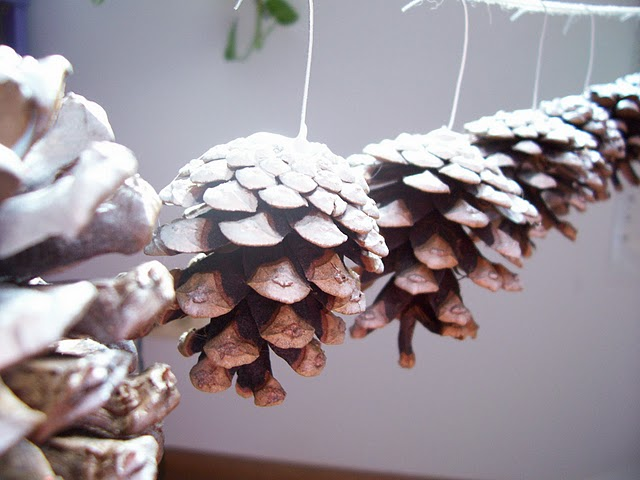 Snowy Pine Cone Christmas Ornaments