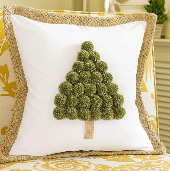 pompom tree pillow