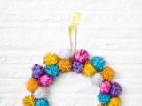 sparkly pompom wreath