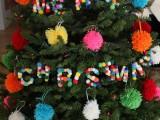 pompom letter ornaments