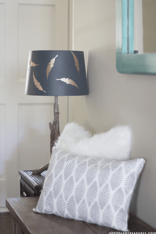 feather patterned lampshade (via upcycledtreasures)