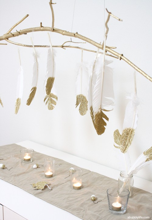 Fresh glitter feather chandelier via abubblylife