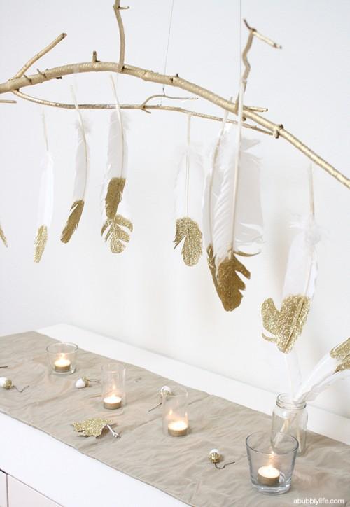 Glitter Feather Chandelier Via Abubblylife