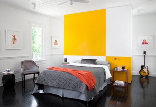 Fake wall behind a bed could add a splash of color to your bedroom's decor