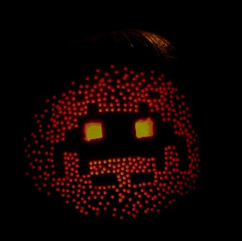 Space Invaders Pumpkin Face