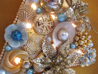 blue vintage jewelry Christmas tree