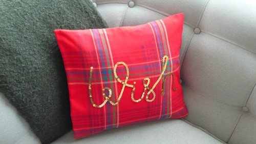 plaid and sequin cushion (via thethingsshemakes)