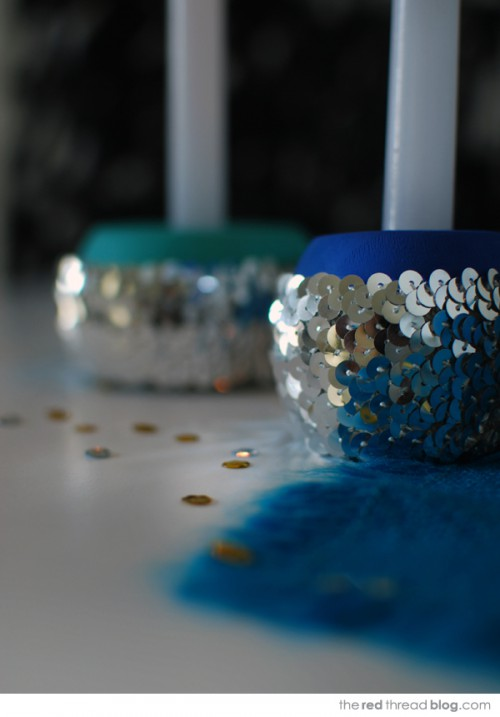sequin candleholders (via theredthreadblog)