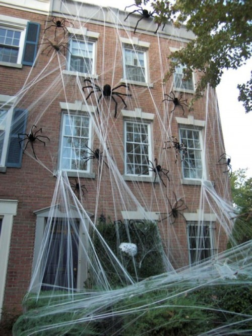 giant spiders in spiderwebs will make your house look very spooky from outdoors and not everyone will risk to visit it