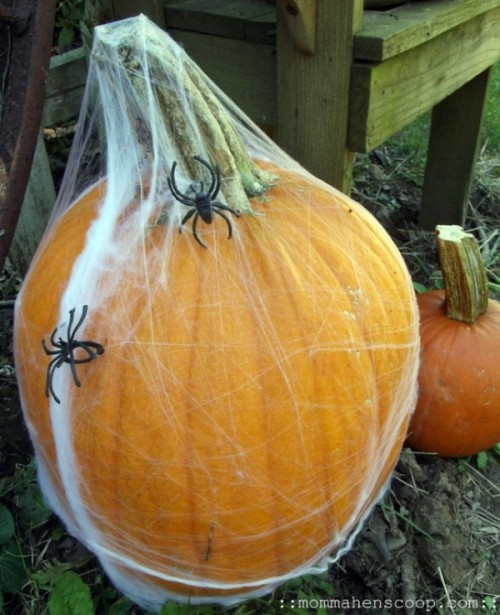 a pumpkin covered with spiderwebs and spiders is a great Halloween decoration to make last minute