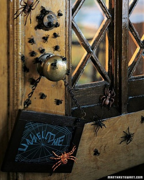 lots of spiders attached to the front door will make it look spooky and very awesome, add a sign and voila