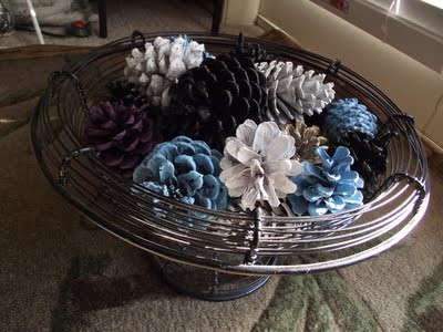 Spray Painted Pinecones In A Bowl