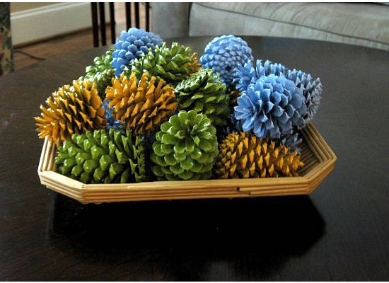 Spray Painted Pinecones On A Tray