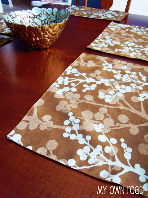 patterned fabric placemats