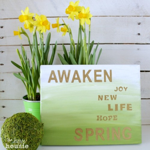 ombre green SPRING sign