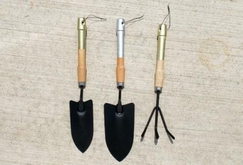 metallic handle garden tools (via homedit)