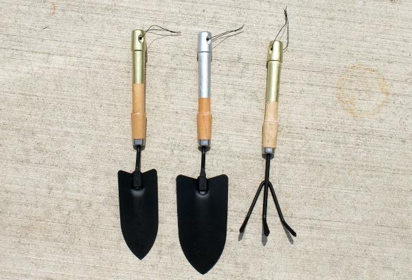 metallic handle garden tools