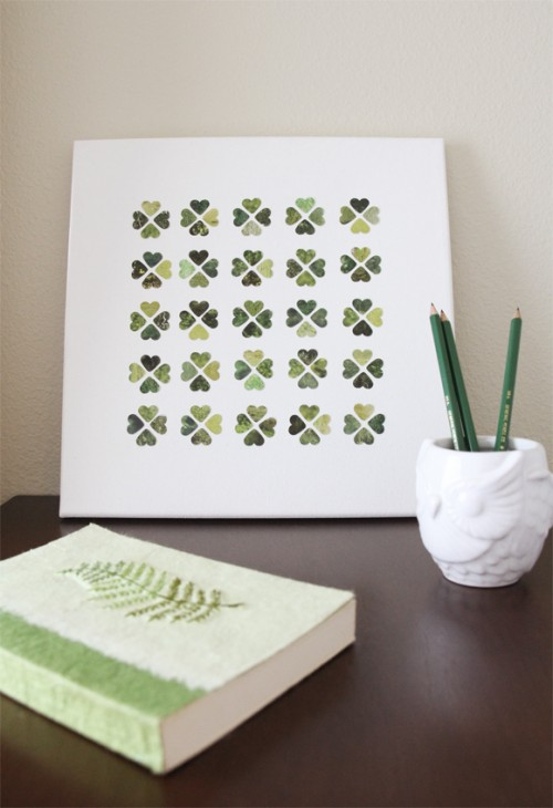 shamrock canvas art (via lovelyclustersblog)