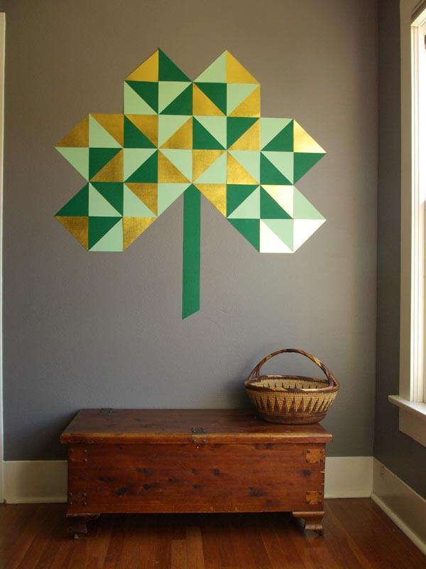 geometric wall shamrock