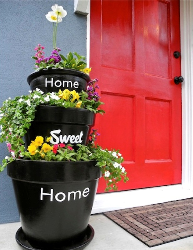 Stacked Planters With Inscriptions For Your Home