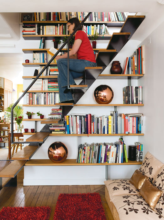 Staircase Design Idea To Combine It With A Library