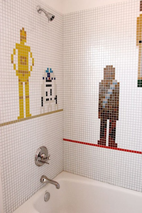 Elegant We Showed You Some Cool Ideas For Designing A Kids Bathroom But I Couldnt Pass By This Cool Idea If Your Kid Is A Fan Of Star Wars Series Then You Can Decorate Some Of Bathroom Walls With Pixilated Characters Using Tiles In Different