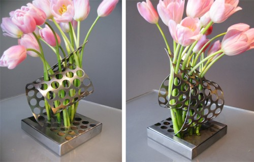 Steel Perforated Flower Vase