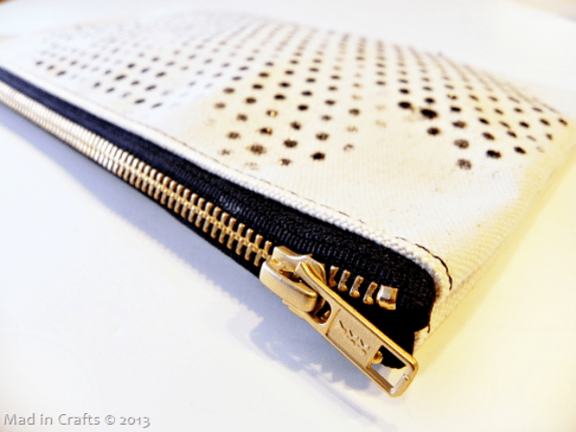 Stenciled Diy Polka Dot Clutch