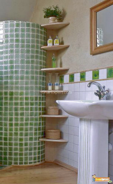 all corners should be considered when you're organizing storage in a small bathroom