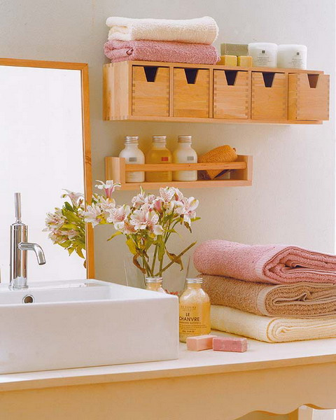 small shelves won't hurt your bathroom's style but will make it clutter free