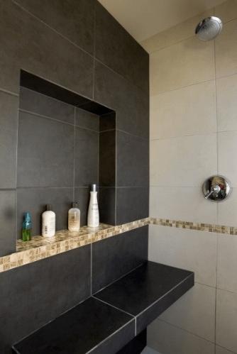 Storage niches in bathroom shelterness - Etagere douche italienne ...