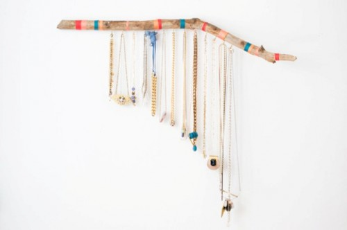 Striped DIY Hanging Branch Jewelry Display