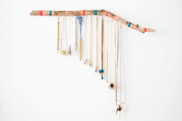 Picture Of striped diy hanging branch jewelry display  1