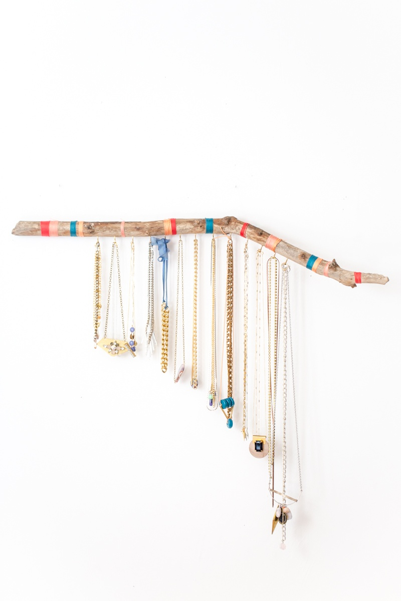 Picture Of striped diy hanging branch jewelry display  6