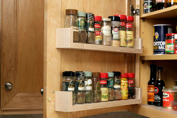 Stroring Spices On Cabinet Door