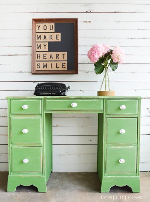 tavern green shabby chic desk (via brepurposed)