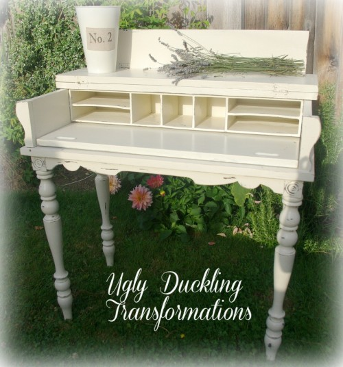 sophisticated shabby chic desk (via uglyducklingtransformations)
