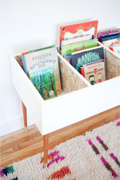 Stylish And Elegant DIY Low Kids' Books Bin