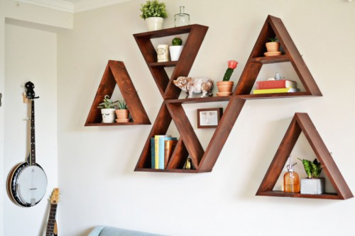 Stylish And Original DIY Triangle Shelf