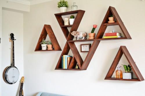 Stylish And Original DIY Triangle Shelf
