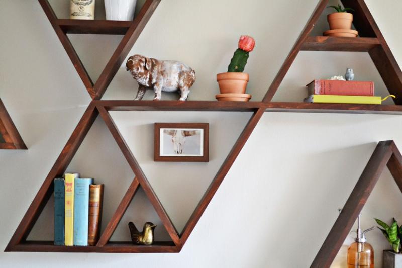 Picture Of stylish and original diy triangle shelf  2