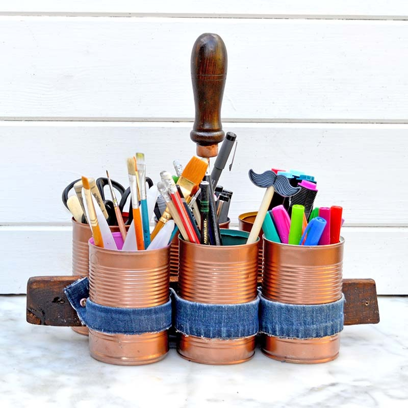Stylish DIY Copper And Denim Craft Caddy