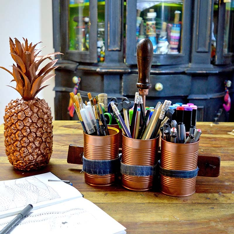 Picture Of stylish diy copper and denim craft caddy  2