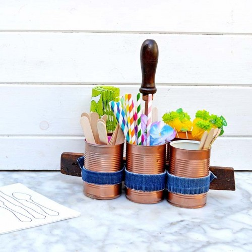 Stylish DIY Copper And Denim Craft Caddy