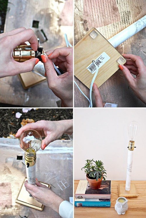 Stylish DIY Faux Marble Table Lamp