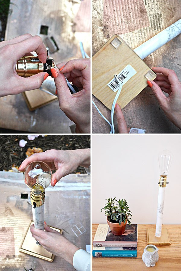 Picture Of stylish diy faux marble table lamp  4