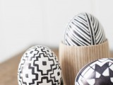 graphic black and white Easter eggs
