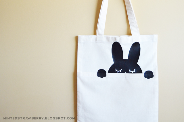 black and white bunny bag